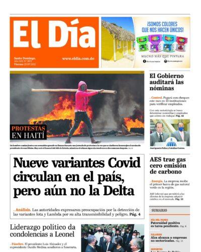 Portada Periódico El Día, Viernes 23 Julio, 2021