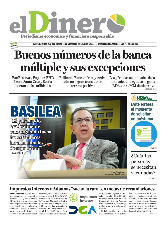 Portada Periódico El Dinero, Jueves 22 Julio, 2021