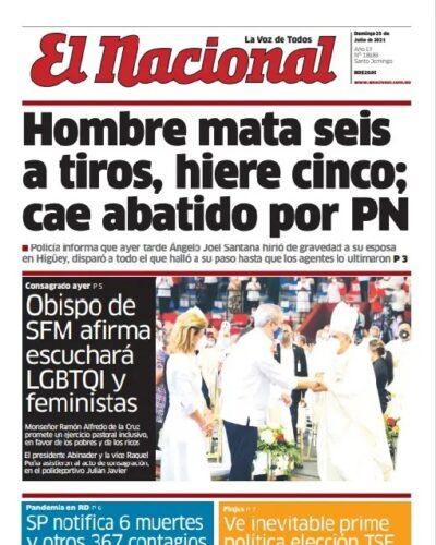 Portada Periódico El Nacional, Domigno 25 Julio, 2021