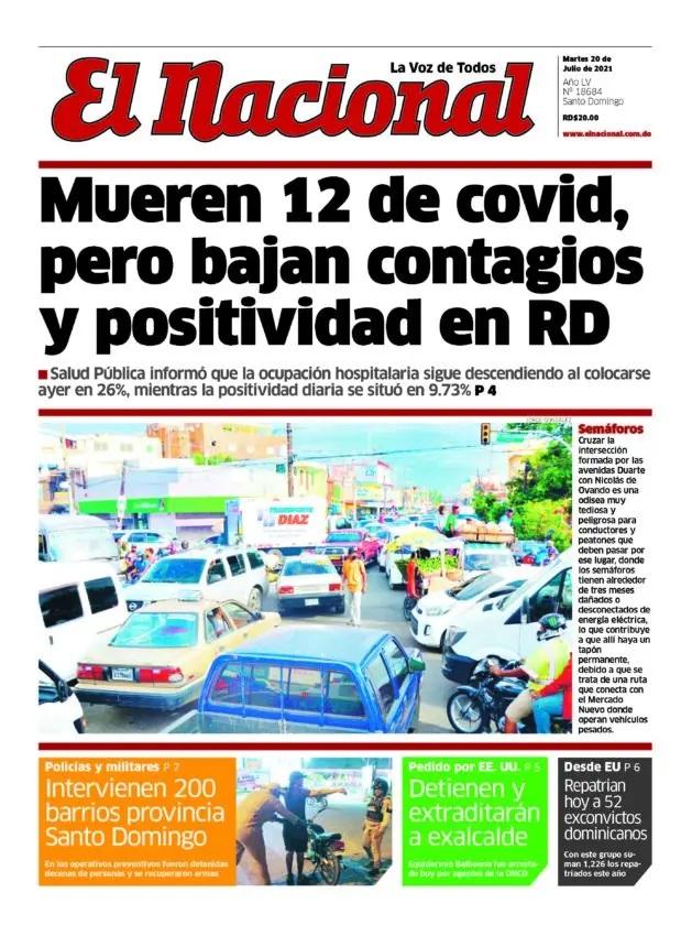 Portada Periódico El Nacional, Martes 20 Julio, 2021