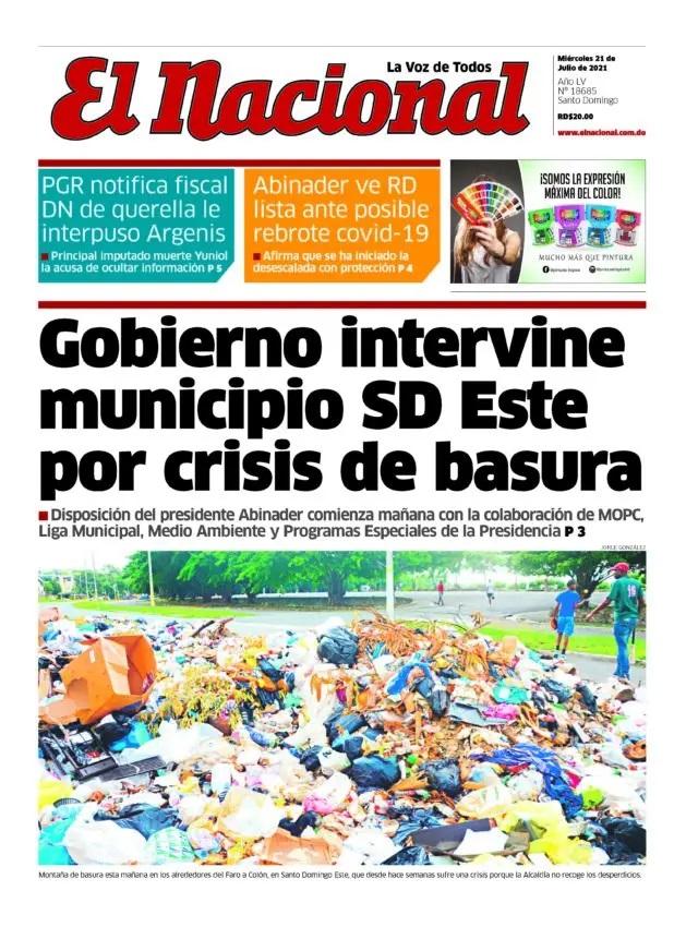 Portada Periódico El Nacional, Miércoles 21 Julio, 2021