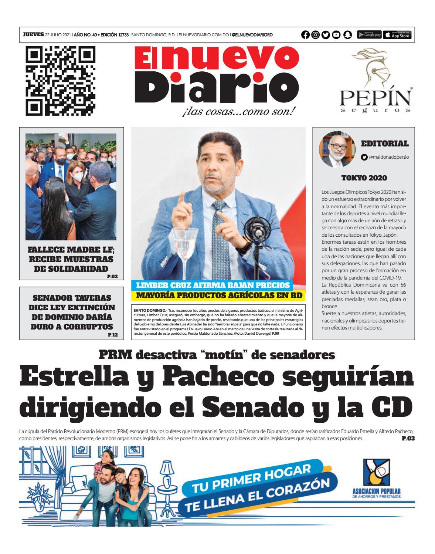 Portada Periódico El Nuevo Diario, Jueves 22 Julio, 2021