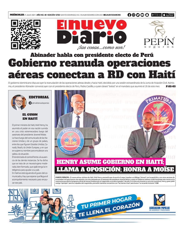 Portada Periódico El Nuevo Diario, Miércoles 21 Julio, 2021