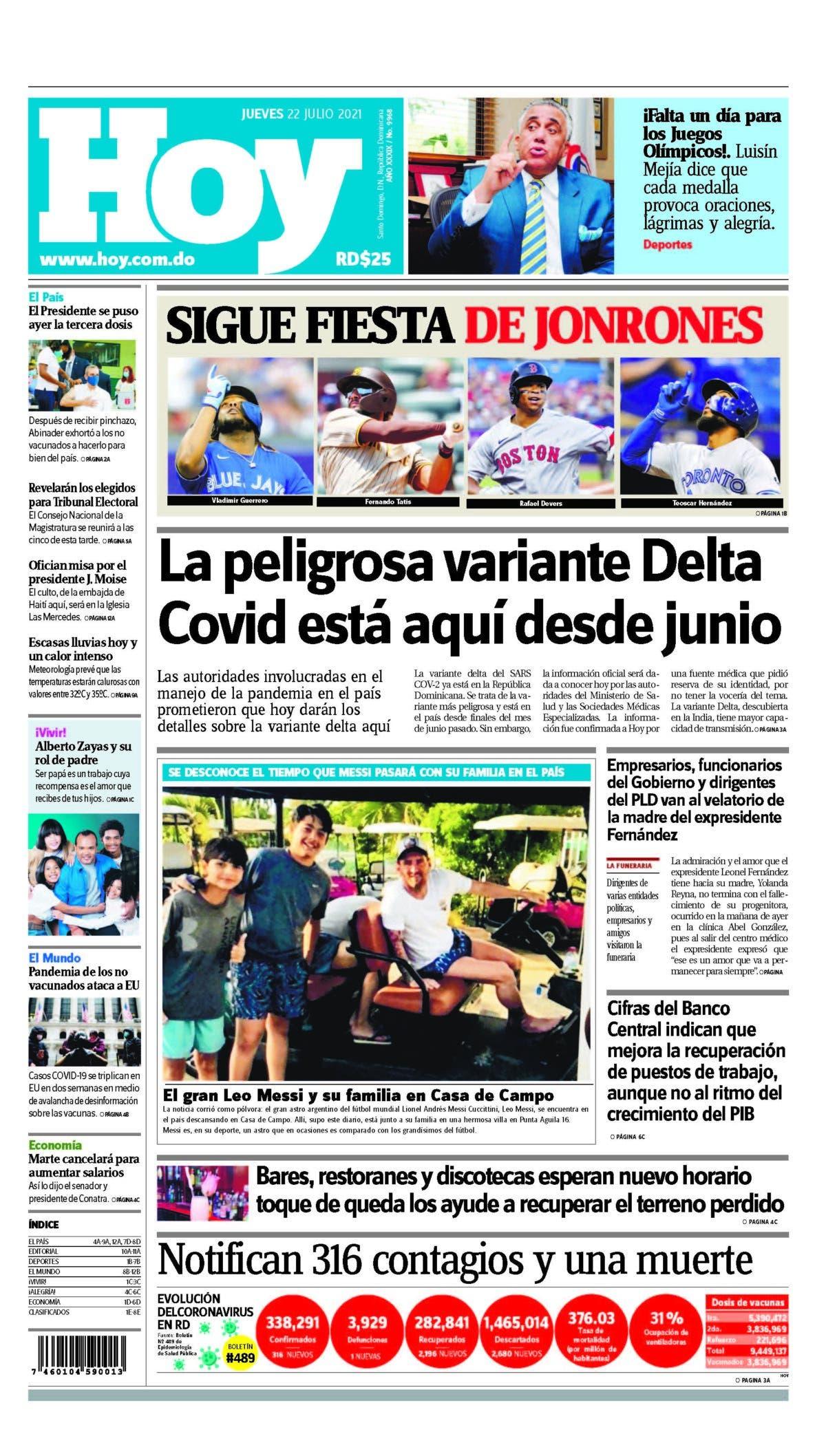 Portada Periódico Hoy, Jueves 22 Julio, 2021