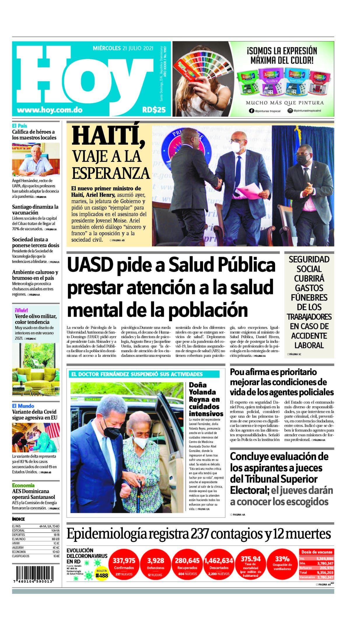 Portada Periódico Hoy, Miércoles 21 Julio, 2021