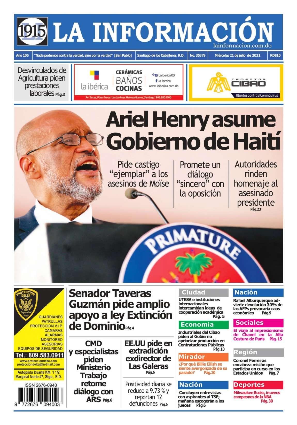 Portada Periódico La Información, Jueves 22 Julio, 2021