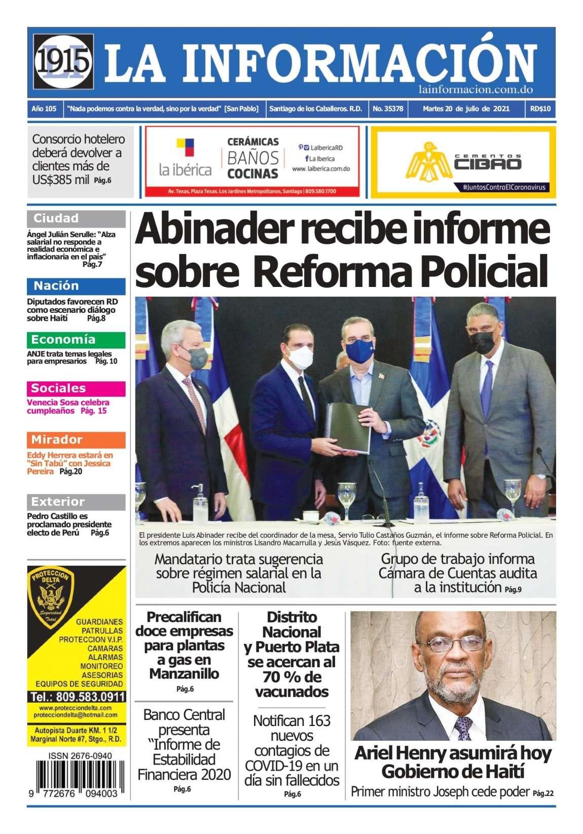 Portada Periódico La Información, Martes 20 Julio, 2021