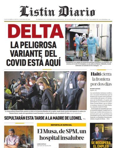 Portada Periódico Listín Diario, Jueves 22 Julio, 2021