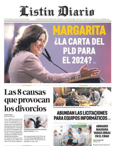 Portada Periódico Listín Diario, Lunes 26 Julio, 2021