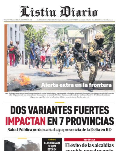 Portada Periódico Listín Diario, Viernes 23 Julio, 2021