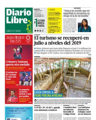 Portada Periódico Diario Libre, Martes 03 Agosto, 2021
