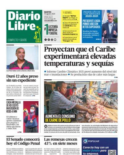Portada Periódico Diario Libre, Martes 10 Agosto, 2021