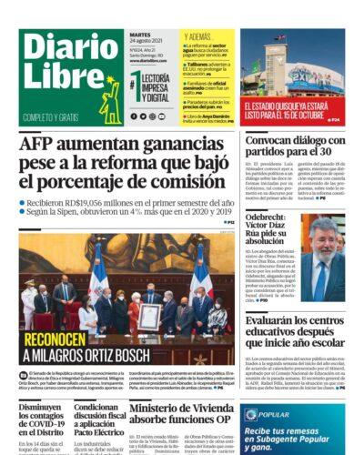 Portada Periódico Diario Libre, Martes 24 Agosto, 2021