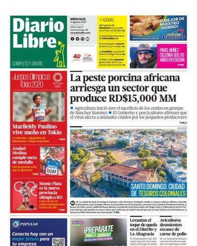Portada Periódico Diario Libre, Miércoles 04 Agosto, 2021