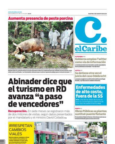 Portada Periódico El Caribe, Martes 03 Agosto, 2021
