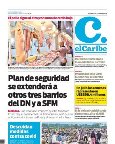 Portada Periódico El Caribe, Martes 10 Agosto, 2021