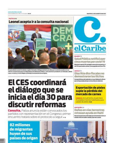 Portada Periódico El Caribe, Martes 24 Agosto, 2021