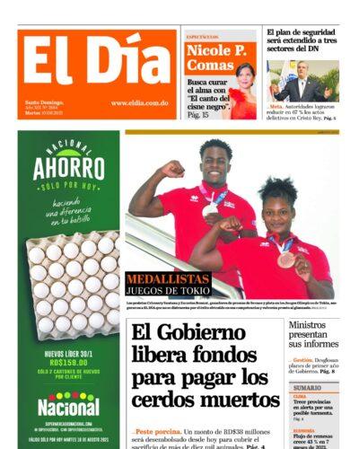 Portada Periódico El Día, Martes 10 Agosto, 2021