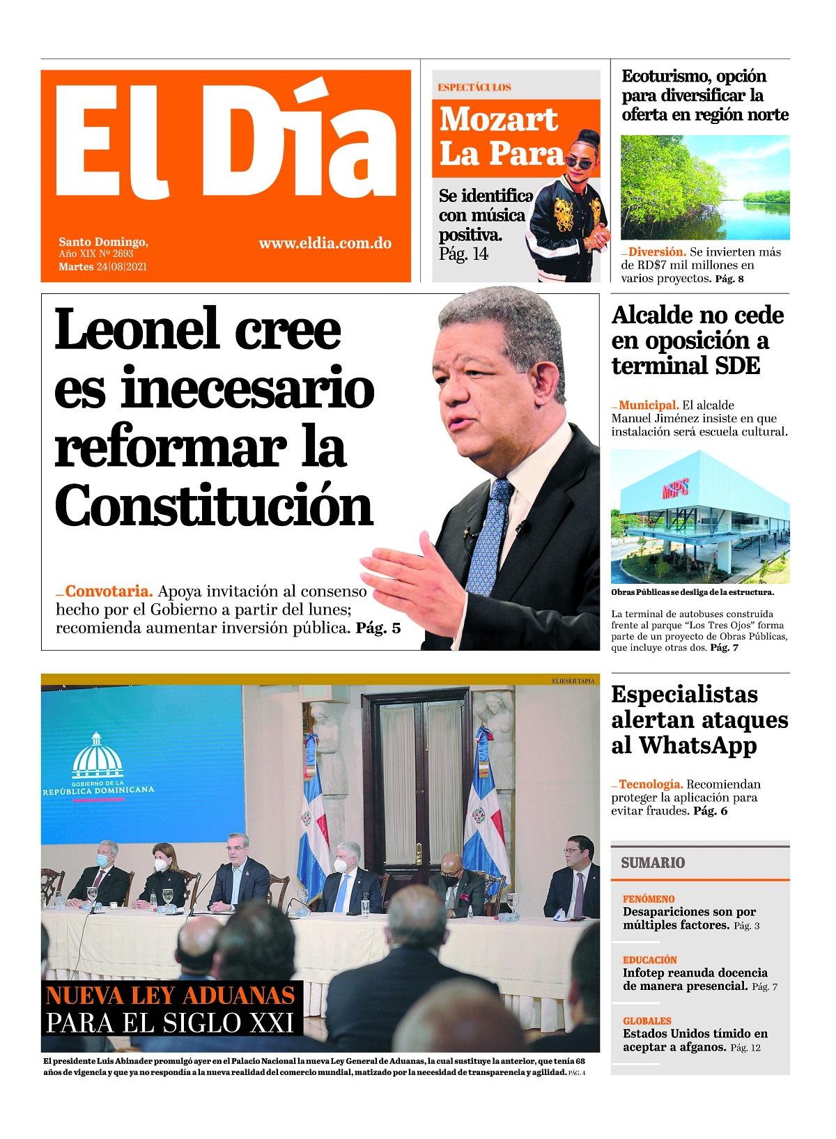 Portada Periódico El Día, Martes 24 Agosto, 2021