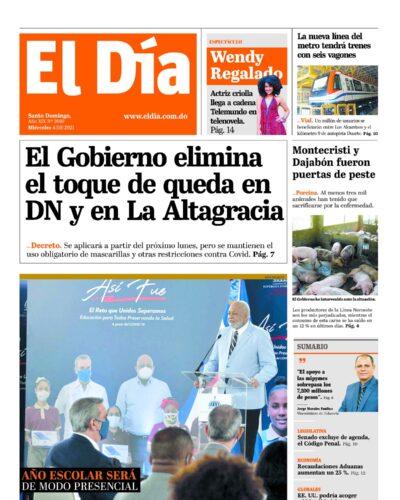 Portada Periódico El Día, Miércoles 04 Agosto, 2021