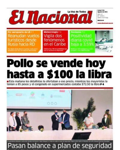 Portada Periódico El Nacional, Lunes 09 Agosto, 2021