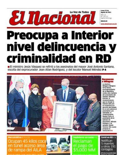 Portada Periódico El Nacional, Lunes 23 Agosto, 2021