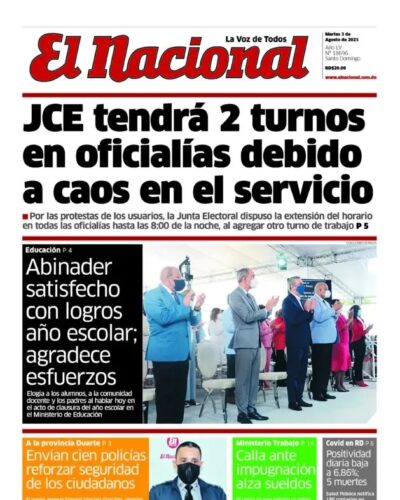 Portada Periódico El Nacional, Martes 03 Agosto, 2021