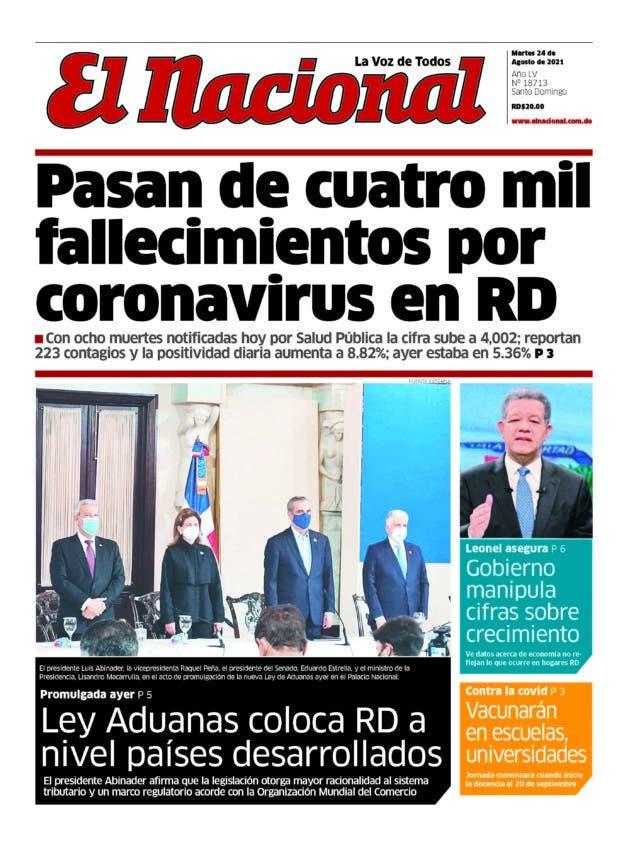 Portada Periódico El Nacional, Martes 24 Agosto, 2021