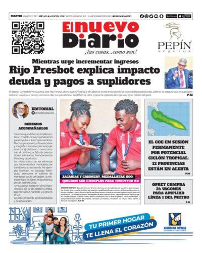 Portada Periódico El Nuevo Diario, Martes 10 Agosto, 2021