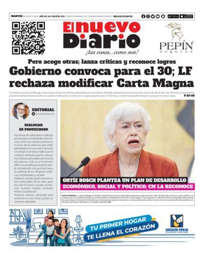 Portada Periódico El Nuevo Diario, Martes 24 Agosto, 2021