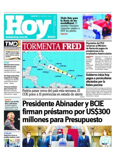 Portada Periódico Hoy, Martes 10 Agosto, 2021