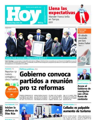 Portada Periódico Hoy, Martes 24 Agosto, 2021