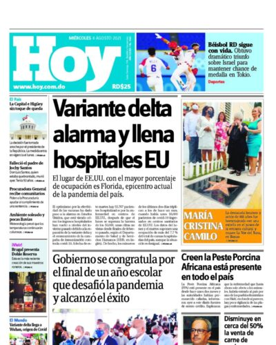 Portada Periódico Hoy, Miércoles 04 Agosto, 2021