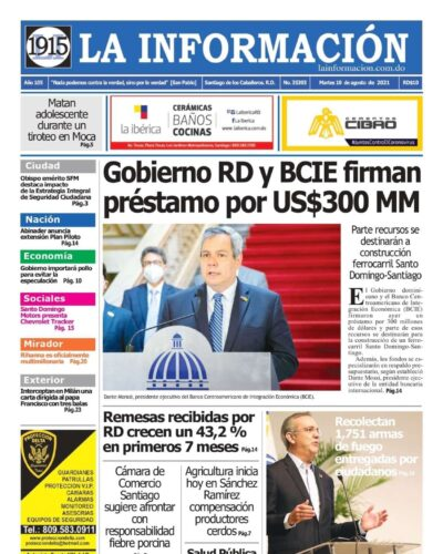 Portada Periódico La Información, Martes 10 Agosto, 2021