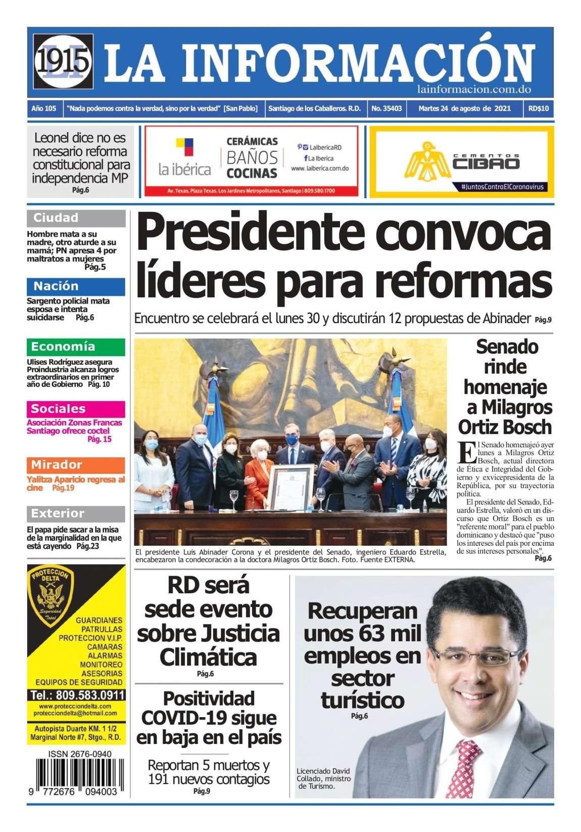 Portada Periódico La Información, Martes 24 Agosto, 2021
