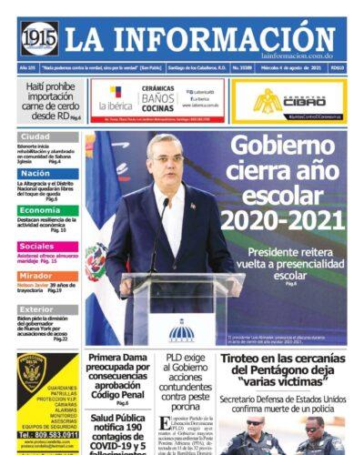 Portada Periódico La Información, Miércoles 04 Agosto, 2021