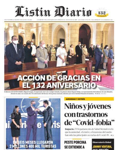 Portada Periódico Listín Diario, Martes 03 Agosto, 2021