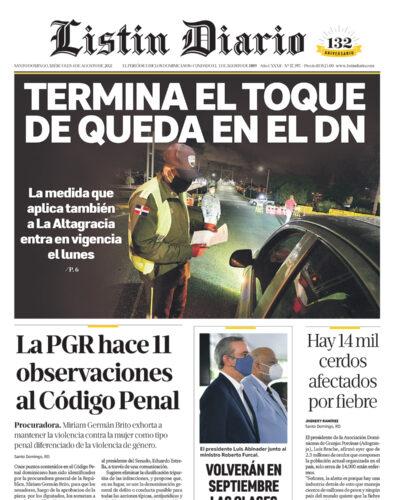 Portada Periódico Listín Diario, Miércoles 04 Agosto, 2021