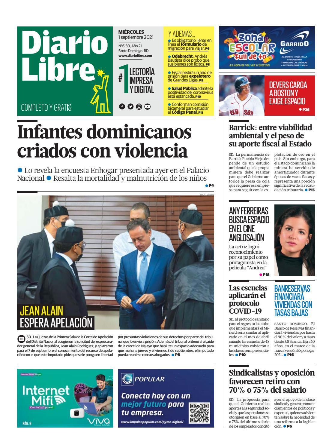 Portada Periódico Diario Libre, Miércoles 01 Septiembre, 2021