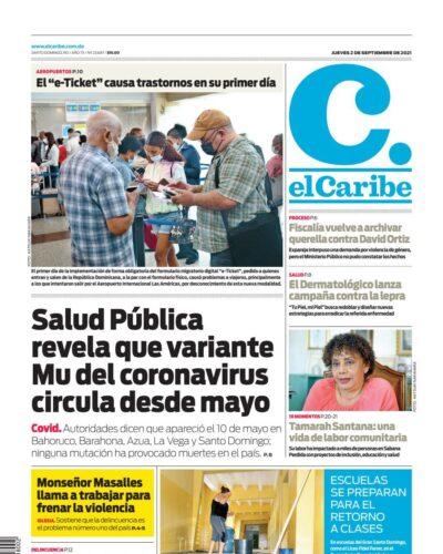 Portada Periódico El Caribe, Jueves 02 Septiembre, 2021