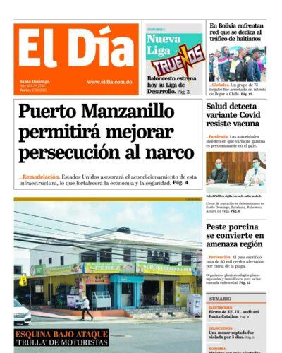 Portada Periódico El Día, Jueves 02 Septiembre, 2021