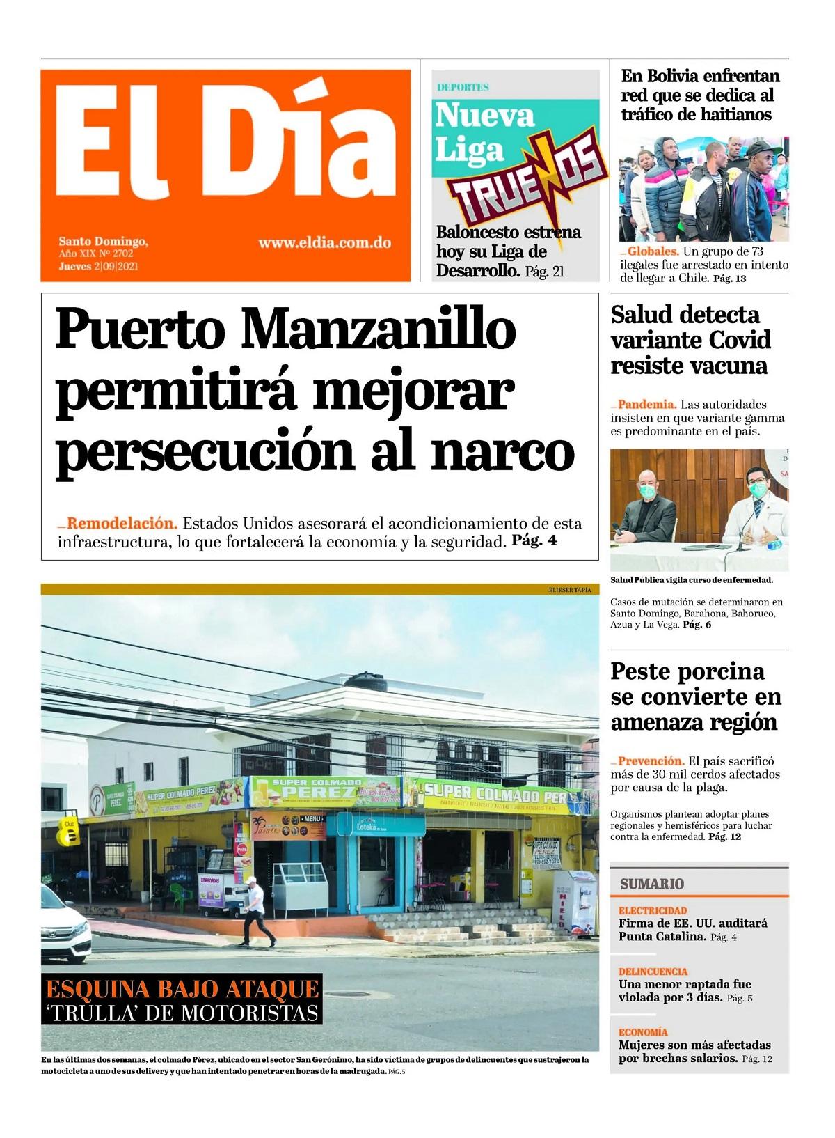 Portada Periódico El Día, Jueves 02 Septiembre, 2021Portada Periódico El Día, Jueves 02 Septiembre, 2021