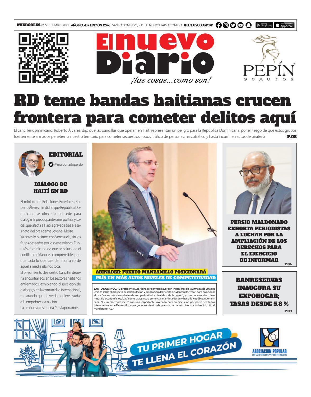 Portada Periódico El Nuevo Diario, Miércoles 01 Septiembre, 2021