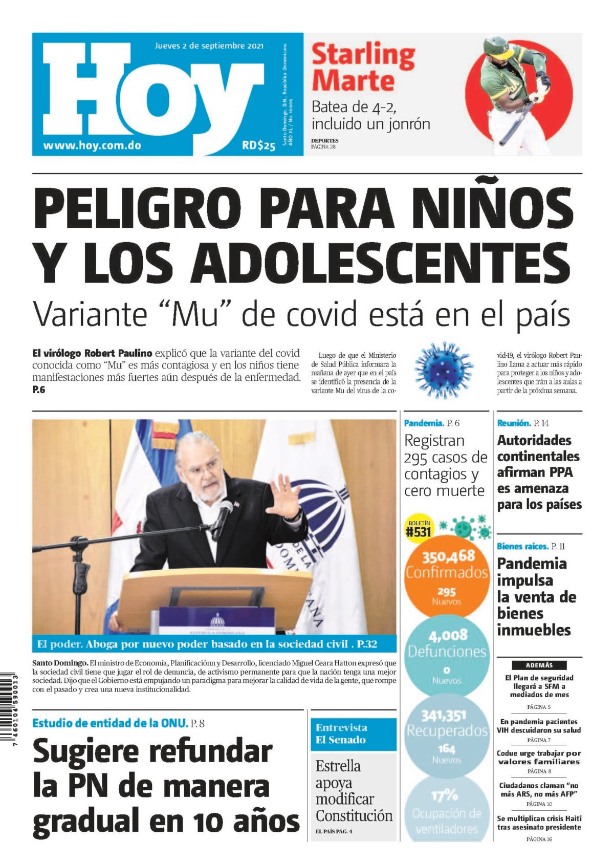 Portada Periódico Hoy, Jueves 02 Septiembre, 2021