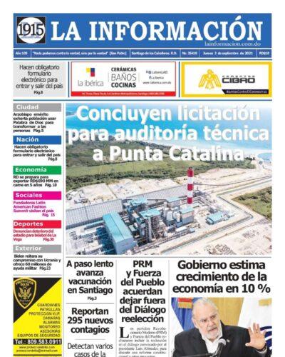 Portada Periódico La Información, Jueves 02 Septiembre, 2021
