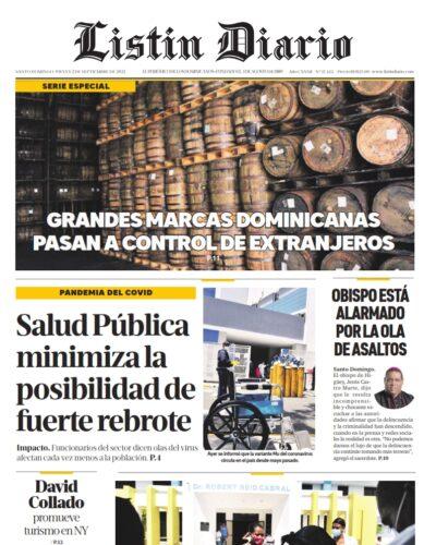 Portada Periódico Listín Diario, Jueves 02 Septiembre, 2021