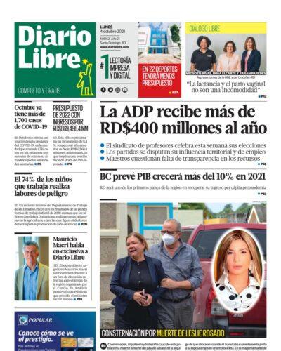 Portada Periódico Diario Libre, Lunes 04 Octubre, 2021