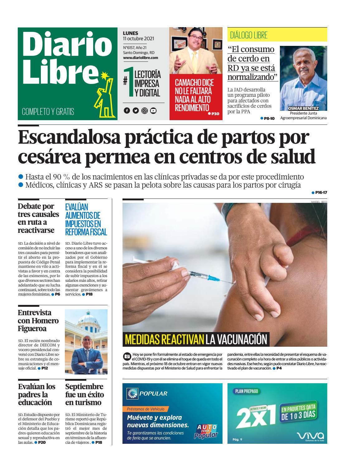 Portada Periódico Diario Libre, Lunes 11 Octubre, 2021