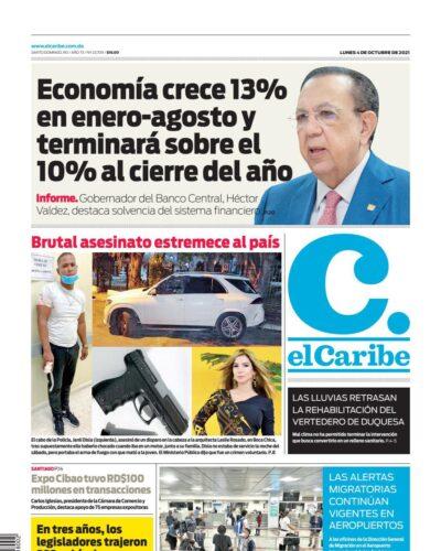 Portada Periódico El Caribe, Lunes 04 Octubre, 2021