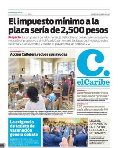 Portada Periódico El Caribe, Lunes 11 Octubre, 2021